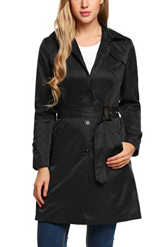 (ELESOL Women's Single Breasted Trench Coat with Belt Black M)