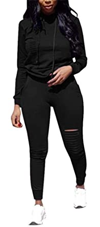 48521d6b6aa Women's Two Piece Outfits Long Sleeve Hoodie Pullover Tops Skinny Leggings  Pants Sweatsuit Jumpsuit Set D
