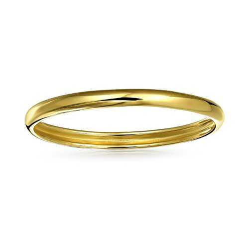 (14K Yellow Gold Thin Chic Stackable Mid Finger Ring Band Polished finish 1mm )