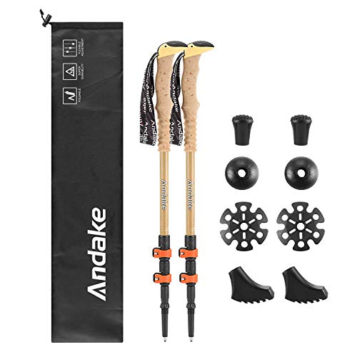 - Andake Ultralight Trekking Pole, Aircraft-Grade Carbon Fiber Anti-Shock Walking Sticks with All Terrain Accessories and Carry Bag, Collapsible for Hiking, Mountaineering, Camping (2P)
