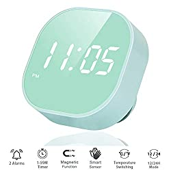 Digital Alarm Clock for Bedroom, Multi-Functional LED Smart Sensor Alarm Clock for Home and Kitchen, Dual Alarm, Battery Backup with Temperature, Countdown Timer, Compact Clock for Desk Bedsides