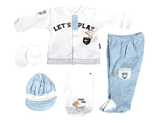 Happylittlebabies Let's Play Baby Boy Clothes Gifts, Basic Essentials Newborn Set 5-Piece Organic Layette Set (Blue)