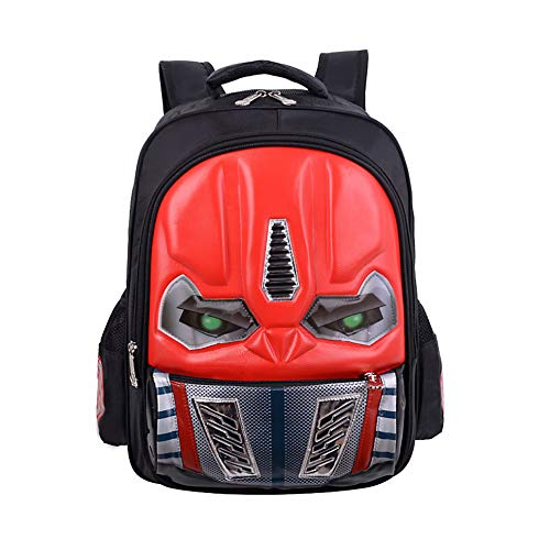 Waterproof Kindergarten Child Book Bag Durable Boy School Bags for Kid Girl Elementary Student Backpack Bookbags for Children (Transformer Red, Small) -