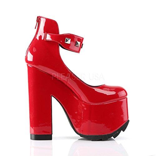 Demonia Damen High Platform-Booties Cramps-03 Lack Rot