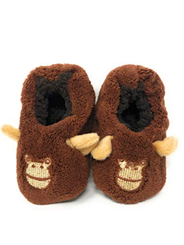 Jar Of Hearts Fun Animal Characters Soft Sole Toddler Moccasins Sock Slippers in Brown 9-12 Months - Licensed Baby Slipper