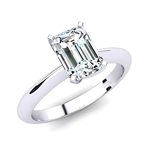 1 Carat Emerald Cut Diamond Engagement Ring For Her 14K White Gold Hallmarked (HI Color I1-I2 Clarity