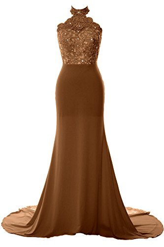 Evening Formal Lace Long Halter Prom MACloth Gown Jersey Women Dress Braun Mermaid xzw6qx8UpR