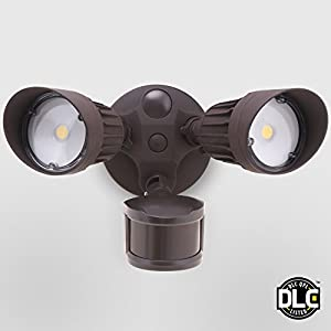 Led Outdoor Security Lighting Fixtures: 20W Dual-Head Motion Activated LED Outdoor Security Light, Photo Sensor, 3  Modes, DLC-listed, 120W Halogen Equiv., 5000K Daylight, 1600Lm Floodlight,  ...,Lighting