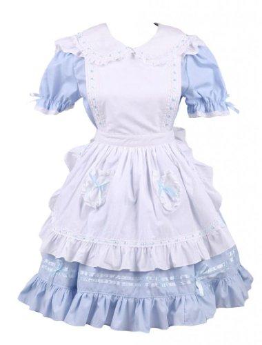 M4U Womens Cotton Blue Ruffles Short Sleeves School Lolita Dress