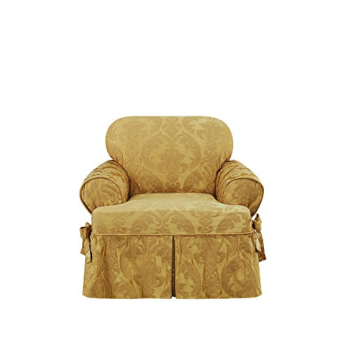 Sure Fit Matelasse Damask One Piece Chair Slipcover - Gold by Surefit (Image #1)'