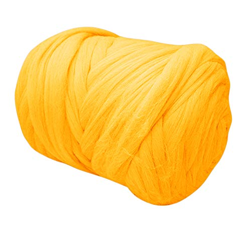 Chunky Yarn Super Bulky Giant Wool Yarn Roving for Arm Knitting Extreme Knitting (4.4lbs(2kg), Yellow) (Type Of Yarn For Arm Knitting Blanket)