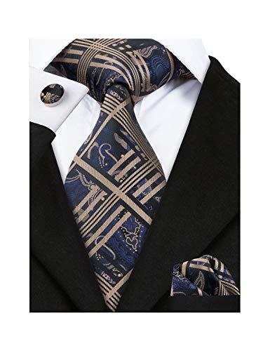 Barry.Wang Mens Plaid Check Silk Necktie Set Formal Tie Pocket Square Cufflinks Set (Brown Check)