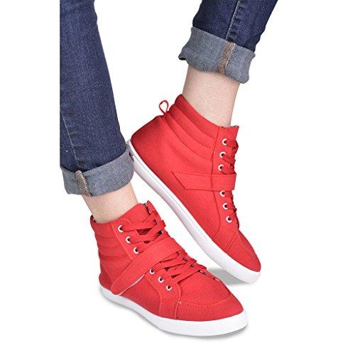 Sneaker Hi-top In Tela Da Donna Intrecciata Con Cinturino Alla Caviglia Rosso