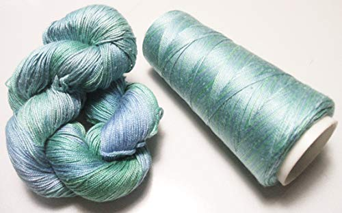 100% Mulberry Queen Silk Yarn 50 Gram 3 Ply Lace Weight Caribbean Sea QS022 Lot O- Cone or Hank