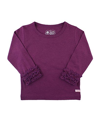 RuffleButts Girls Plum Ruffled Long Sleeve Layering Tee - 8