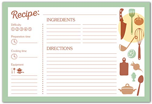 Set of 50 Recipe Cards | 4x6 Inches | Elegant Double-Sided Design! | Thick Premium Cardstock | Makes a Great Gift for an Aspiring or Professional Cook!
