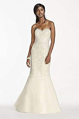 Strapless Crystal Beaded Tulle Fit and Flare Wedding Dress Style SWG688