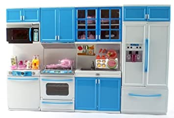 blue deluxe my modern barbie size kitchen stove fridg micro wave etc