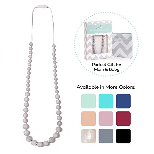 Goobie Baby Audrey Silicone Teething Necklace for Mom to Wear, Safe BPA Free Beads to Chew - Marble