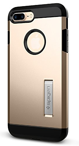 Spigen Tough Armor iPhone 7 Plus Case with Reinforced Kickstand and Heavy Duty Protection and Air Cushion Technology for Apple iPhone 7 Plus (2016) - Champagne Gold