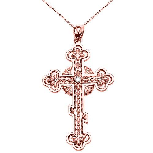 Collier Femme Pendentif 14 Ct Or Rose Élégant L'Est Orthodoxe Diamant Croix (Livré avec une 45cm Chaîne)