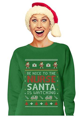 Nurse Ugly Christmas sweater Funny Xmas Gift for Nurses Women Sweatshirt X-Large Green