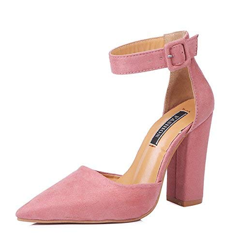 MayBest Womens Spring Summer Ankle Strap Pointed Toe Sandal Chunky High Heels Office Evening Pumps Pink 11 B (M) US