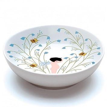 Djeco - Assiette creuse en porcelaine Crème fleurette Vaisselle ...