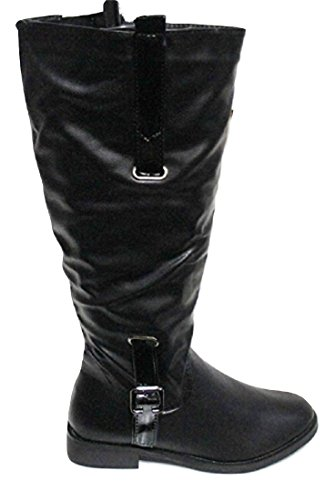 """CHIX Black Leather Look """"Riding Style"""" Calf Boots 6910"""