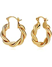 LILIE&WHITE Twisted Gold Chunky Hoop Earrings For Women Thick Hoop Earrings Fashion Jewelry