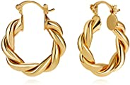 LILIE&WHITE Twisited Gold Chunky Hoop Earrings For Women 14K Gold Plated High Polished Lightweight Hoops F