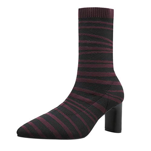 Hunzed Women Shoes Zebra Pattern with high Heel Girl's Boots Stretch Women's Boots (Wine, ()