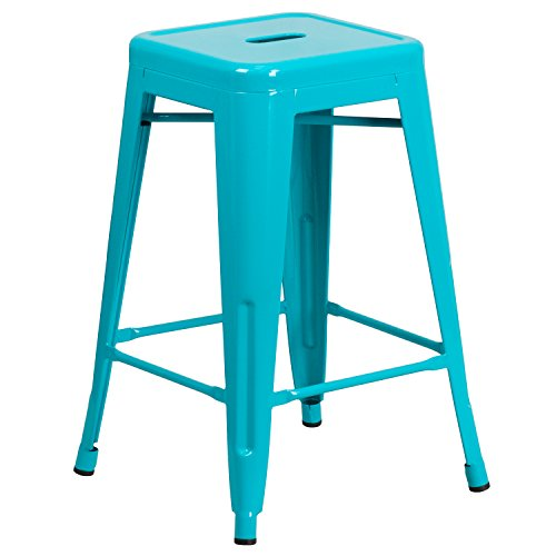 Flash Furniture High Backless Crystal Blue Indoor-Outdoor Counter Height Stool (Backless Bar Stools Counter)