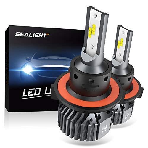 2009 Ford Focus Replacement - SEALIGHT H13 9008 LED Headlight Bulbs Fanless 6000K White High Low Beam CSP Chips Halogen Headlight Replacement 30W 5000Lumens