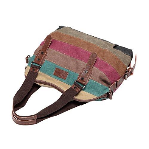 Multicolour Shoulder Tote Canvas Striped Bags Hobos Women's 4 Handbag Defeng Bag WzOq6npcFW
