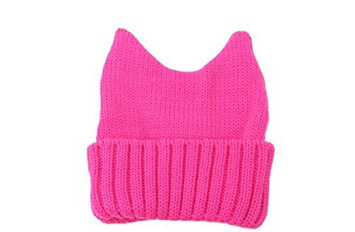 GAMT Cute Cat Ears Cap Wool Warm beanies for Women Pink