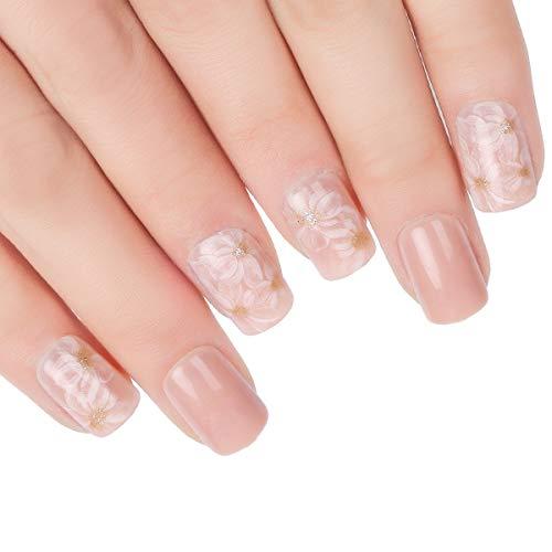 Doreliss uñas postizas 30 Pcs Consejos corto uñas falsas de Pegamento adhesivo de doble cara Rosa Clarocolor: Amazon.es: Belleza