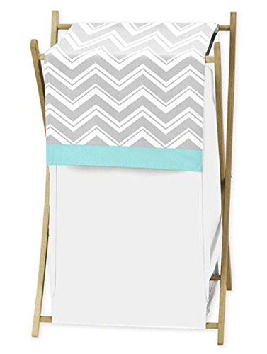 Sweet Jojo Designs Baby/Kids Clothes Laundry Hamper for Turquoise and Gray Chevron Zig Zag Bedding (And Bedding Gray Baby Turquoise)