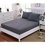Double Fitted Sheet with 30CM Depth Pocket Brushed Microfiber wrinkle resistance (Grey)