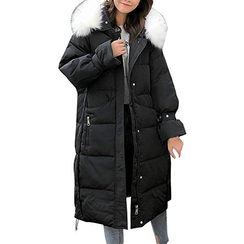 Artificielle Femme En Pour À Vestes Manteau Longues Noir Capuchon Solides Et Fourrure Boutonné PXuOZik