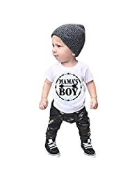 Baby Boy Letter Print Short Sleeve t-Shirt Tops Camouflage Pants Trousers Summer Kids Toddler Outfit Clothes Set