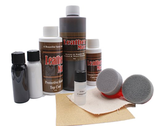 Furniture Leather Max MEGA Kit/Leather Restorer/8 Oz Refinish 2 Oz Conditioner/4 Oz Top Coat/Black and White 1 Oz Color Changer/Sponge (Leather Repair Kit) (Dark Brown)