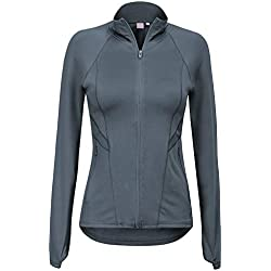 Regna X Women's Full Zip Up Plus Size Moisture Wicking Track Jacket Grey S