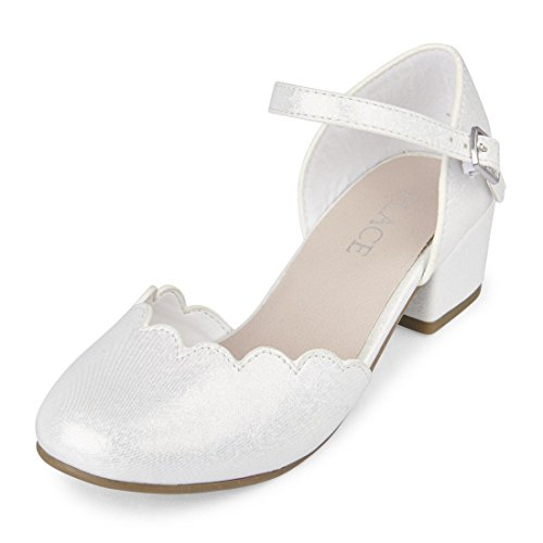 The Children's Place Girls' BG Split Annie Slipper, White, Youth 12 Medium US Big Kid