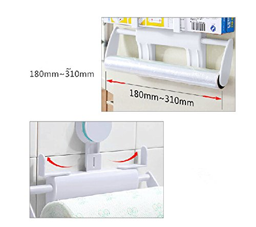 Creative roll holder kitchen suction wall strong suction cup paper towel holder Wall hanging fresh bags cling film paper box carton