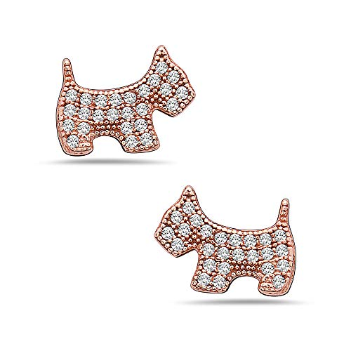 - 925 Solid Sterling Silver Scottie Dog Earrings - 10mm Rose Gold Stud Hypoallergenic Animal Jewelry