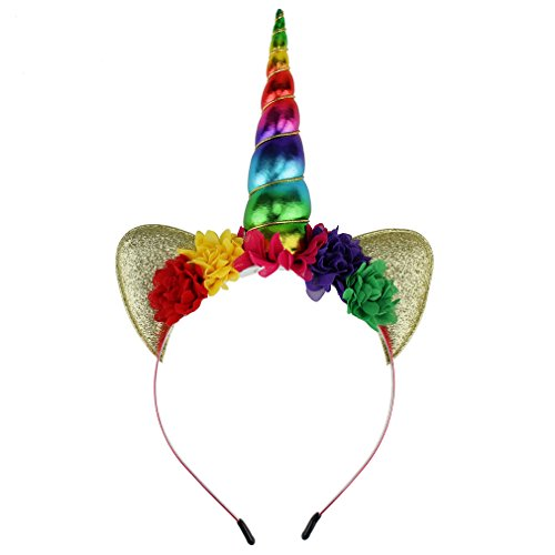 YanJie Shiny Unicorn Horn Ears Flower Headband Cosplay Costume (Rainbow) -