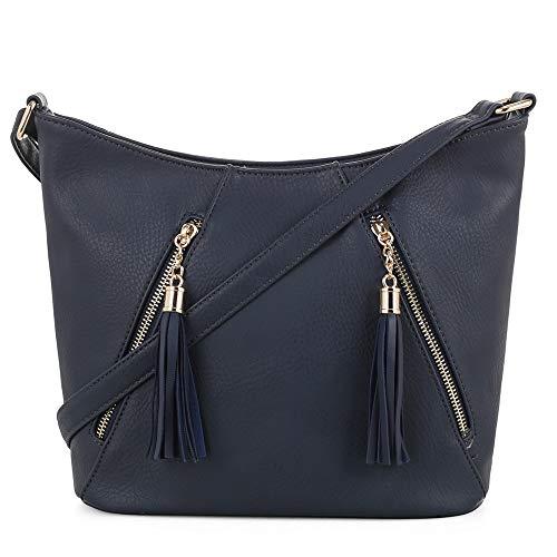 (DELUXITY   Crossbody Hobo Slouch Bucket Purse Bag   Functional Multi Pocket with Tassel   Adjustable Strap   Navy )