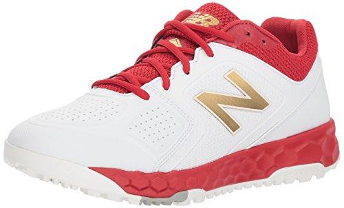 (New Balance Women's Velo V1 Turf Softball Shoe, red/White, 8 B US)