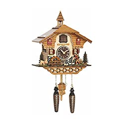 Quartz Cuckoo Clock Black forest house with music, moving wanderer and mill-wheel TU 4216 QM